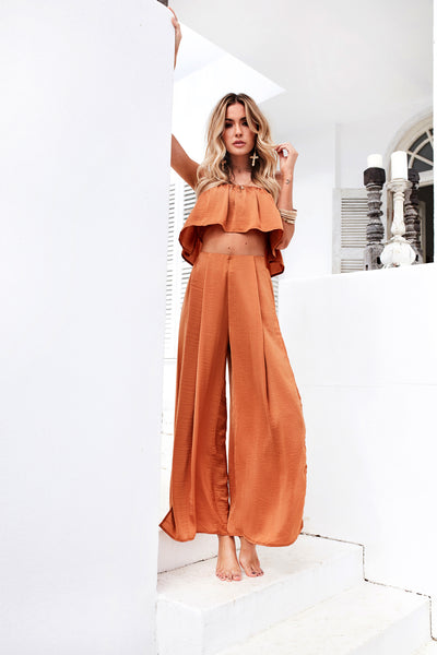 Giorgia Satin Set (Burnt Orange)