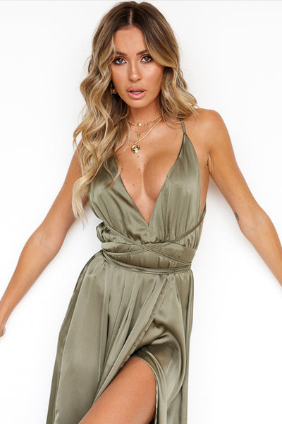 Girl On Fire Maxi Dress (Khaki)