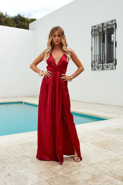 Girl On Fire Maxi Dress, Ruby, Front2