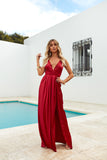 Girl On Fire Maxi Dress, Ruby, Front3