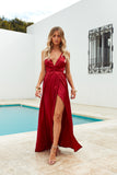 Girl On Fire Maxi Dress, Ruby, Front