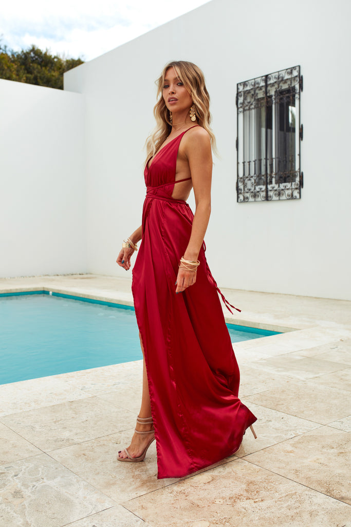 Girl On Fire Maxi Dress, Ruby, Side