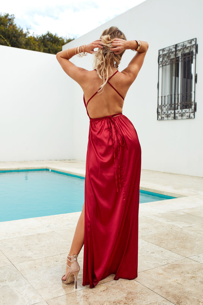 Girl On Fire Maxi Dress, Ruby, Back