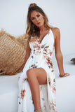 Floral Fantasy Maxi Dress (White/Brown Floral Print)