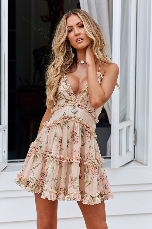 High Tea 2.0 Dress (Nude/Green Floral)