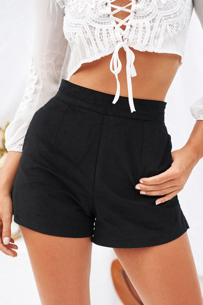 Hold On Tight Felt Shorts, Black, Front, Cord Shorts, Corduroy, Felt, Staple Shorts, Basic Shorts, Style, Women's Fashion