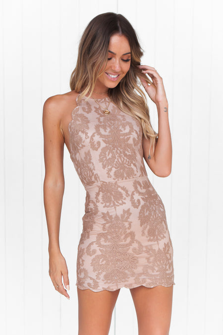 The Perfect Date Satin Mini Dress (Mocha)