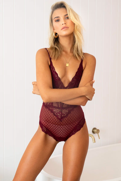 Intimate Night Bodysuit (Burgundy)