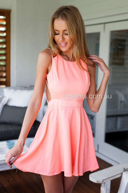 In The Moment Dress-Front1,Peach