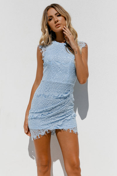 Jessica Dress, Baby Blue, Front