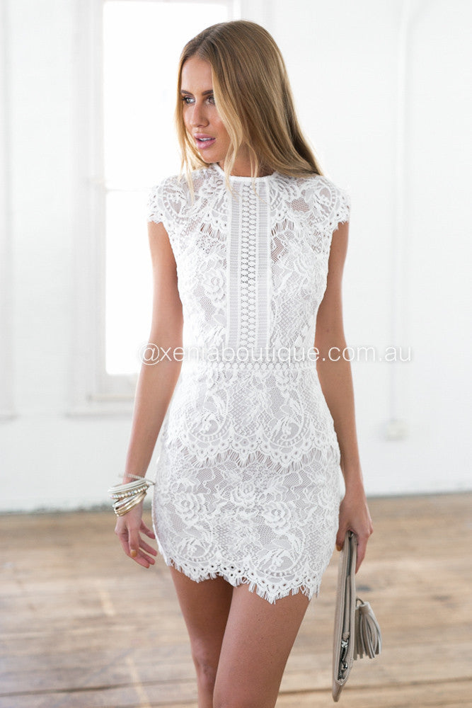 Lace cocktail dress white