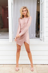 Kim Satin Dress (Blush)