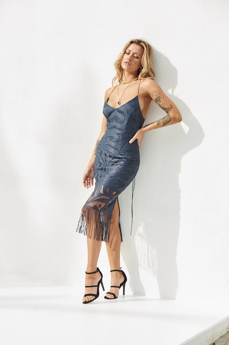 Girl On Fire Maxi Dress (Steel Blue)