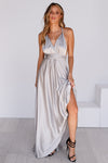 The Perfect Date Satin Maxi Dress (Silver)