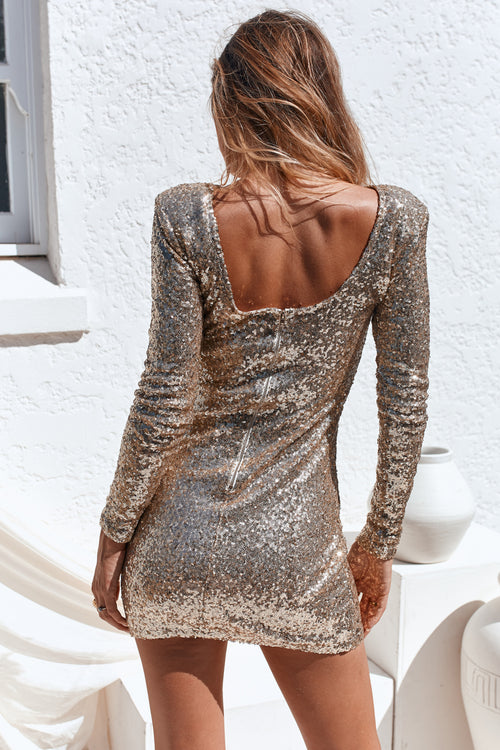 Flourish In Darkness Dress (Gold)