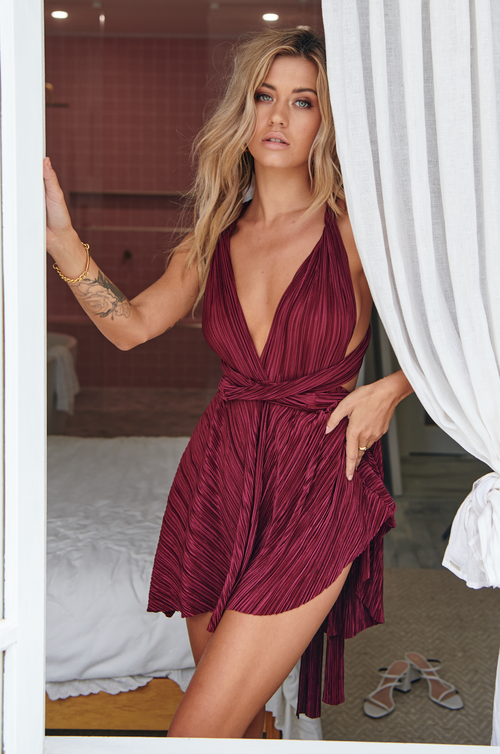 The Perfect Date Ribbed Dress (Plum)