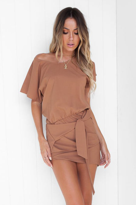 Julia Claire Shift Dress (Brown)