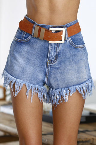 Milly Frayed Denim Shorts