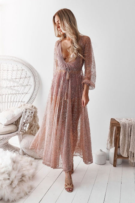After Midnight Sequin Maxi Dress (Rose Gold)