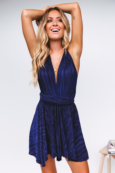 The Perfect Date Ribbed Dress (Navy)