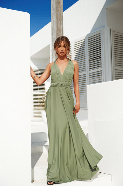 The Perfect Date 2.0 Multiway Maxi Dress (Khaki)