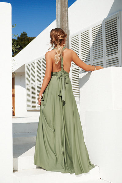 The Perfect Date Multiway Maxi Dress (Khaki)