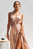 The Perfect Date Satin Maxi Dress (Mocha)