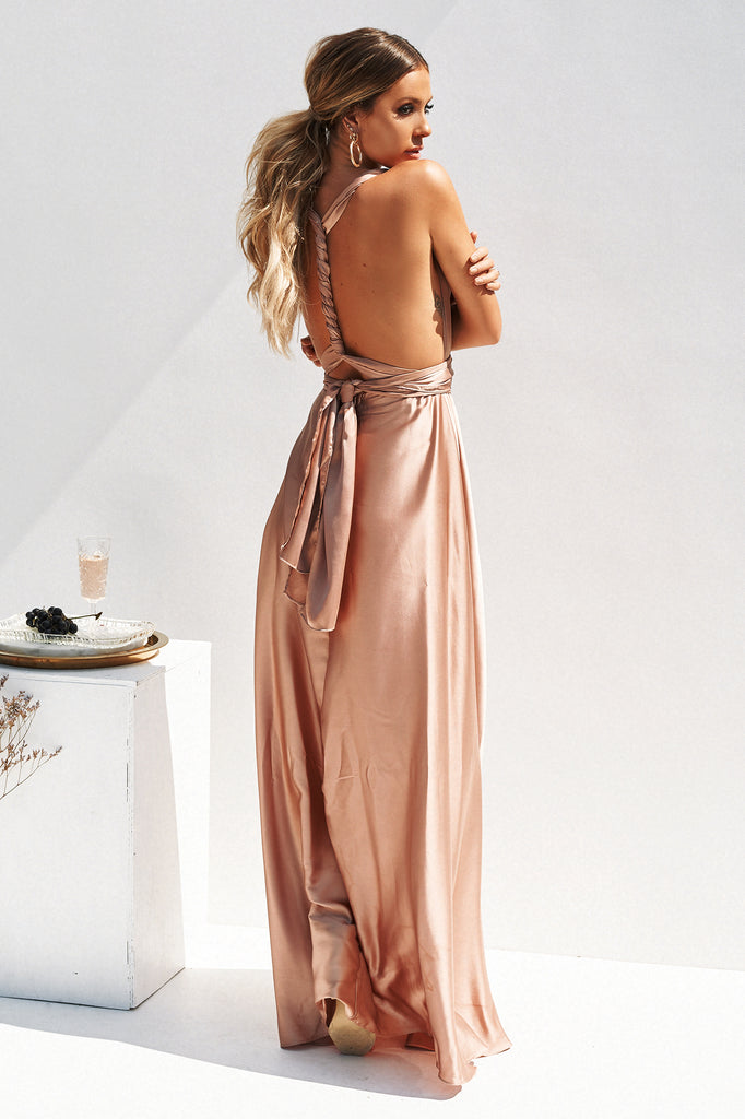 Perfect Date Satin Maxi, Mocha, Back, Satin, Maxi Dress, Formal Dresses, Affordable Formal Dresses, Bridesmaid Dress, Nude, Celeb Style