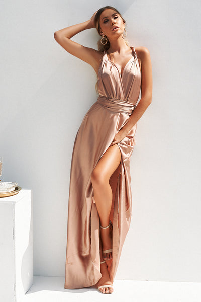 Perfect Date Satin Maxi, Mocha, Front, Satin, Maxi Dress, Formal Dresses, Affordable Formal Dresses, Bridesmaid Dress, Nude, Celeb Style
