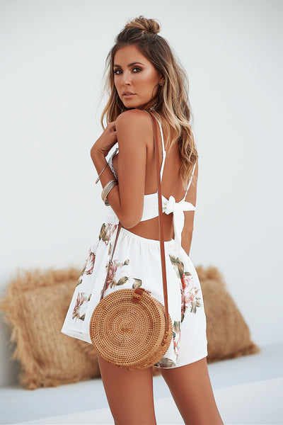 Secret Wishes Romper (White/Brown Floral)