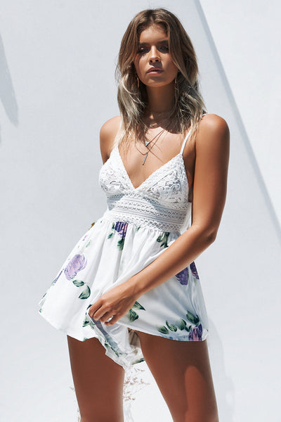 Secret Wishes Romper (White/Purple Floral)