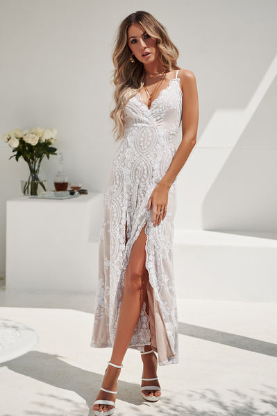 Sequin Nights Maxi (White/Nude)