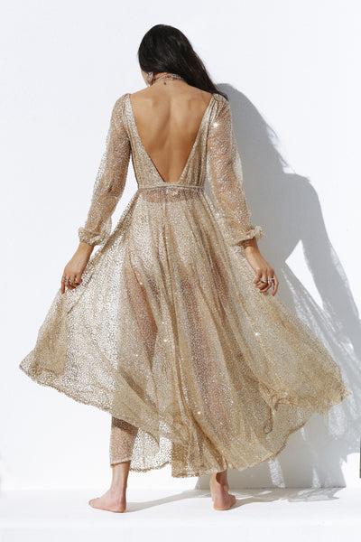 Nala Glitter Gown Dress (Gold)