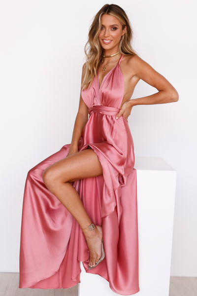 The Perfect Date Satin Maxi Dress (Rose)