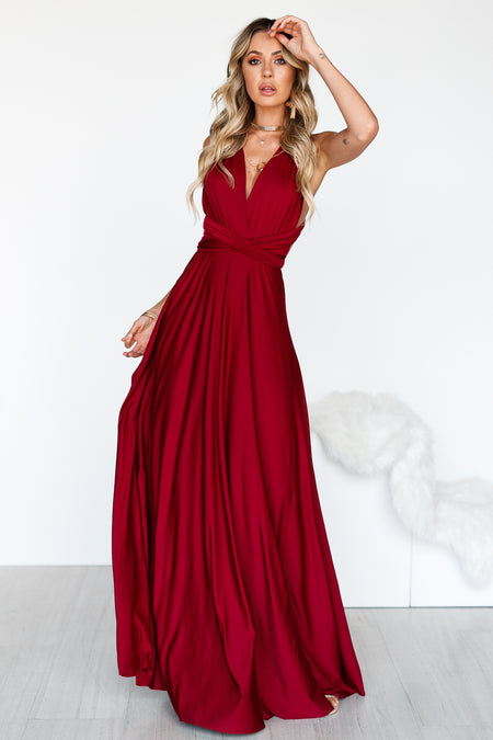Audrey Lace Dress (Burgundy)