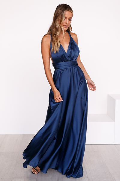 The Perfect Date Satin Maxi Dress (Navy)