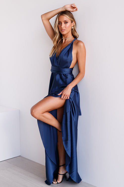 1bc844b50638 The Perfect Date Satin Maxi Dress (Navy)