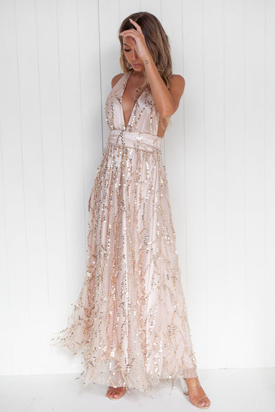 The Perfect Date Sequin Maxi (Nude/Gold)