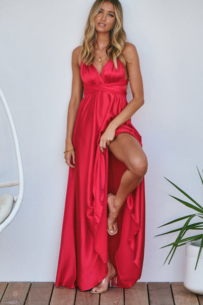 The Perfect Date Satin Maxi Dress (Red)