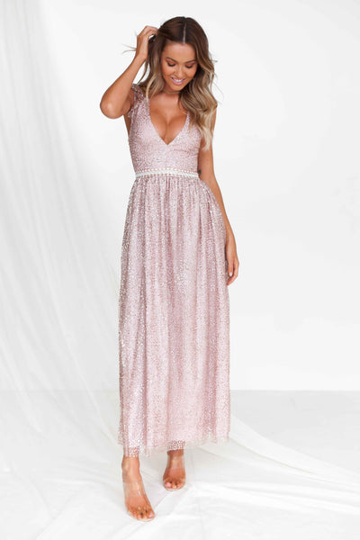 Wealth of Glitter Maxi Dress (Rose Gold)