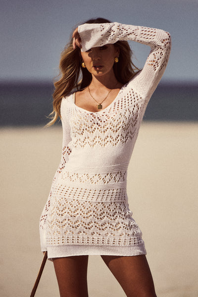 Shona Crochet Mini Dress (White)