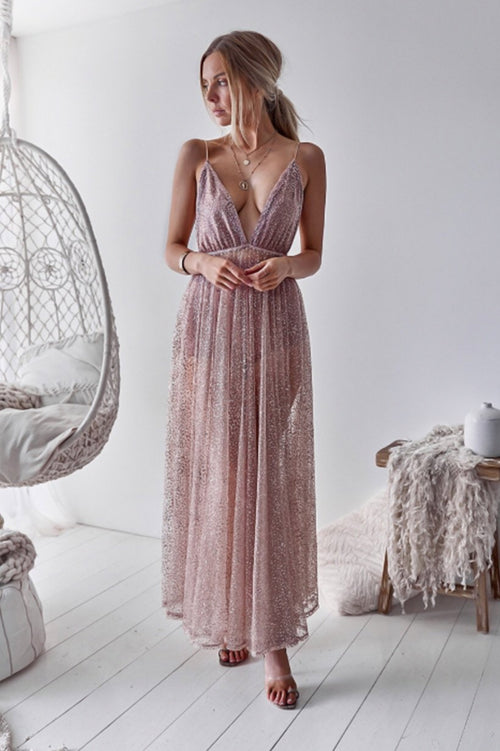 Zinna Glitter Gown Dress (Rose Gold)
