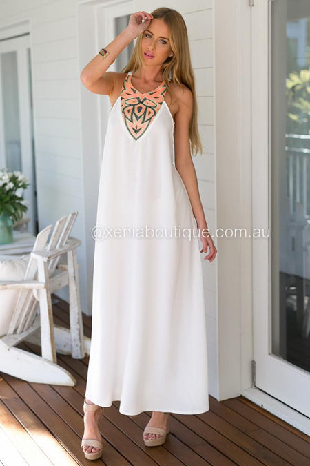 Lace Goddess Maxi Dress (White)