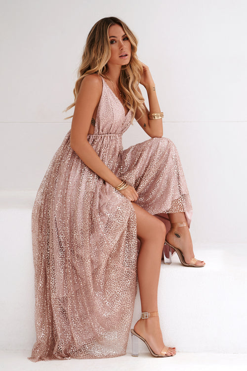 cfb07658d9662 All That Glitters Maxi Dress (Rose Gold)