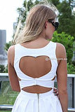Heart Cut Out Dress-Back2,White