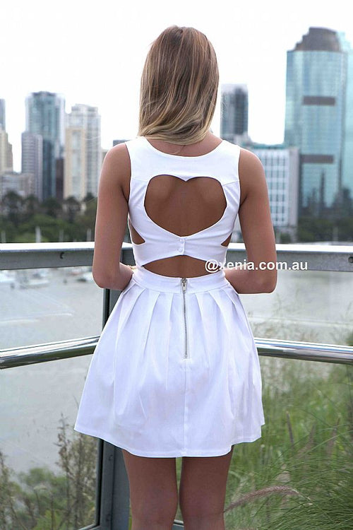 Heart Cut Out Dress-Back,White