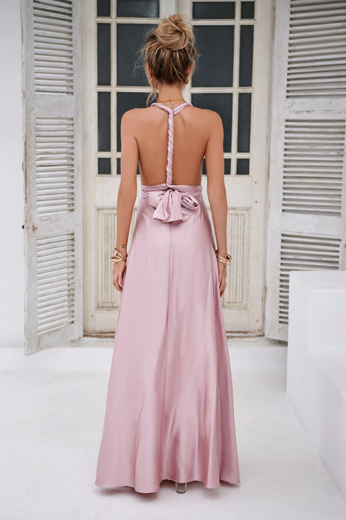 The Perfect Date Satin Maxi Dress (Blush)