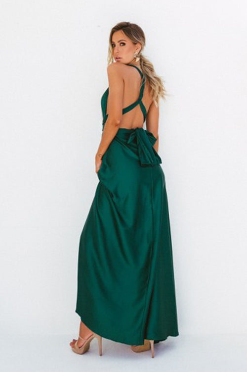 The Perfect Date Satin Maxi Dress (Jade)