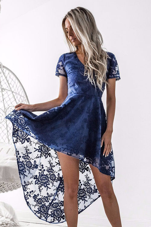 Shay High Low Dress (Navy)