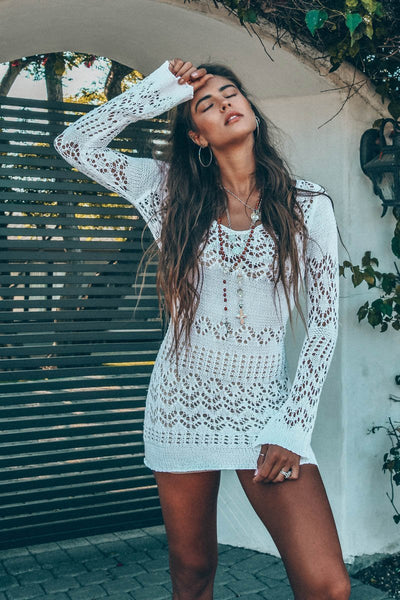Shona Crochet Mini Dress (White) - PRE-ORDER